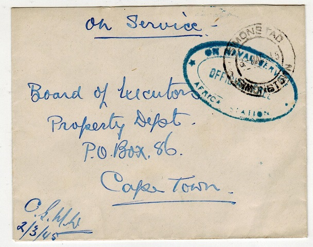 SOUTH AFRICA - 1945 ON NAVAL SERVICE/AFRICA STATION stampless cover to Cape Town.