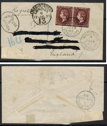 ST.VINCENT - 1893 5d on 4d pair on registered cover (faults) to UK.