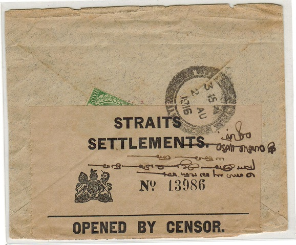 SINGAPORE - 1916 inward cover from India with STRAITS SETTLEMENTS censor label applied.