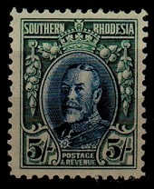 SOUTHERN RHODESIA - 1931 5/- blue and blue-green U/M.
