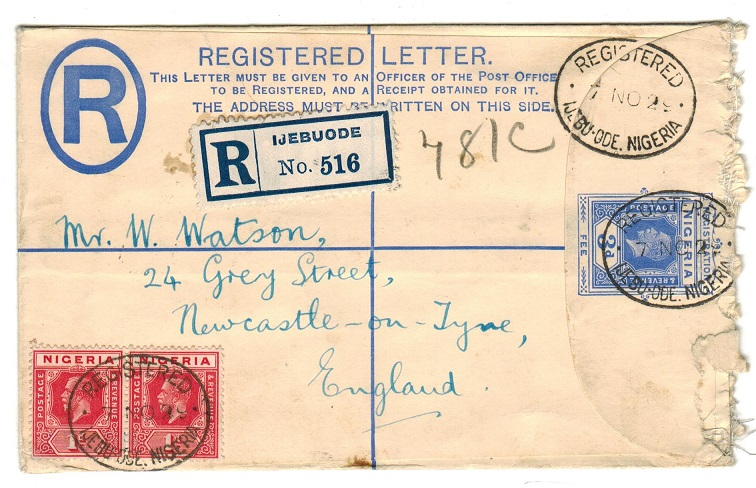 NIGERIA - 1923 3d RPSE to UK used at IJEBUODE.  H&G 2.