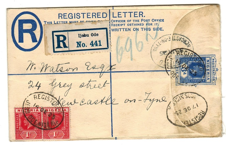 NIGERIA - 1923 3d RPSE to UK used at IJEBU ODE.  H&G 3.