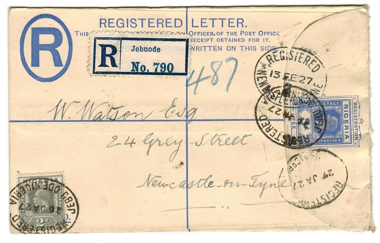 NIGERIA - 1923 3d RPSE to UK used at JEBUODE.  H&G 2.