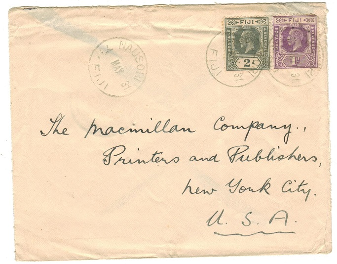 FIJI - 1931 3d rate cover to USA used at NAUSORI.