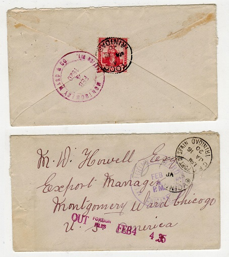 TRINIDAD AND TOBAGO - 1920 1d rate cover to USA used at TOCO.