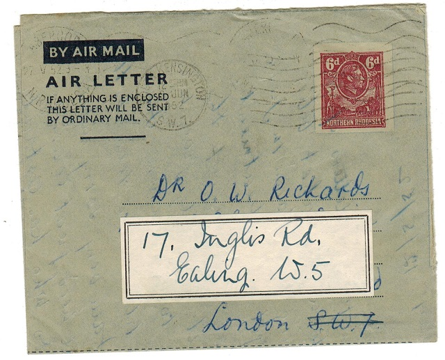 NORTHERN RHODESIA - 1949 6d air letter to UK used at ABERCORN.  H&G 1.