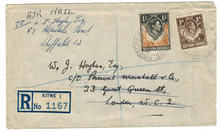 NORTHERN RHODESIA - 1951 rate 1/1d registered cover to UK used at KITWE.