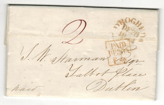 IRELAND - 1844 stampless entire to Dublin used at DROGHEDA.