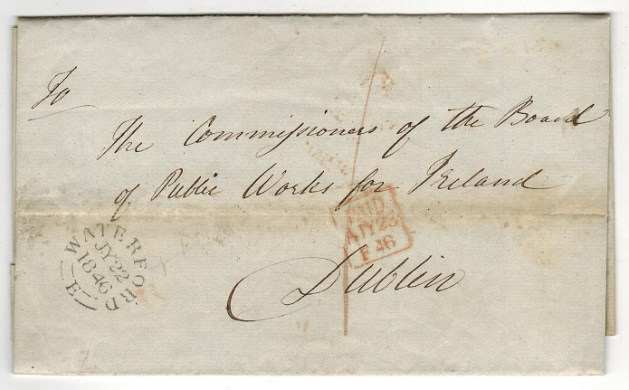 IRELAND - 1846 stampless entire to Dublin used at WATERFORD.