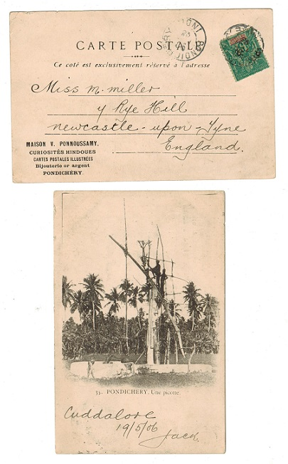 INDIA (Pondicherry) - 1906 use of postcard to UK with French 5c used at PONDICHERRY.
