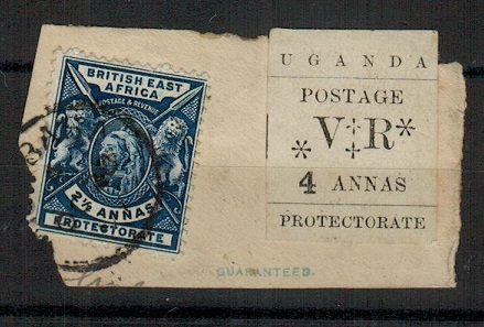 UGANDA - 1896 4a tied in combination with BEA 2 1/2a by MOMBASA cds.