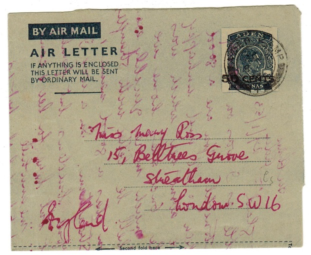 ADEN - 1952 50c on 6a stationery air letter to UK used at ADEN CAMP.  H&G 4.