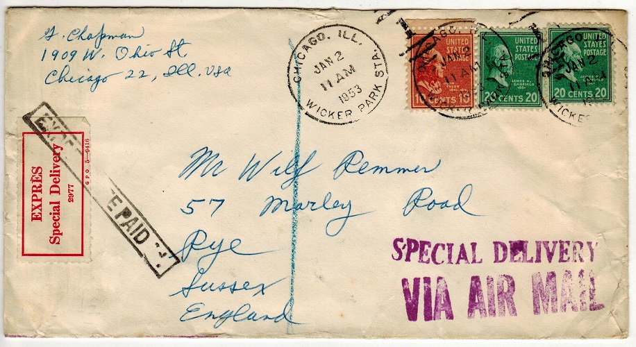 GREAT BRITAIN - 1953 inward EXPRESS DELIVERY cover from USA with label.