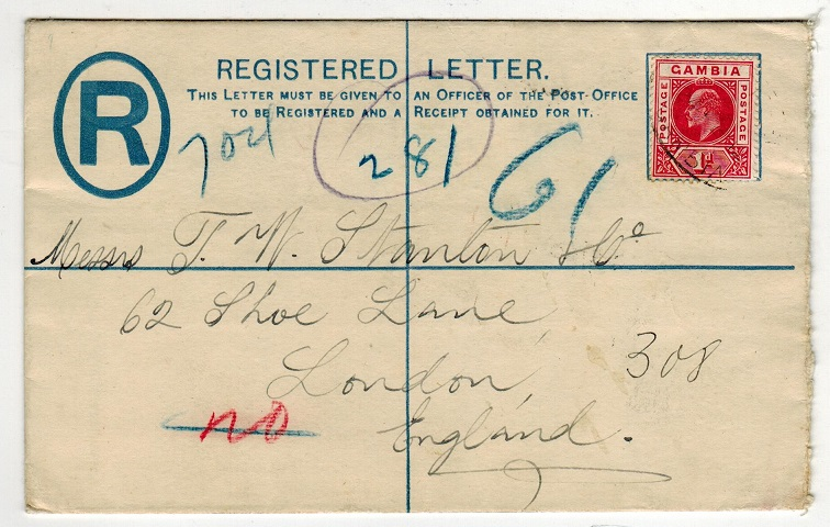 GAMBIA - 1902 2d RPSE to UK uprated with additional 1d adhesive.  H&G 1a.