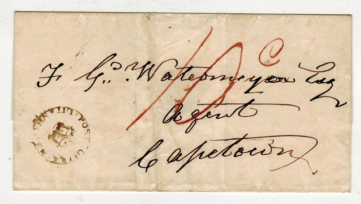 CAPE OF GOOD HOPE - 1820 (circa) wrapper to Cape Town with crowned UITENHAGEN h/s.