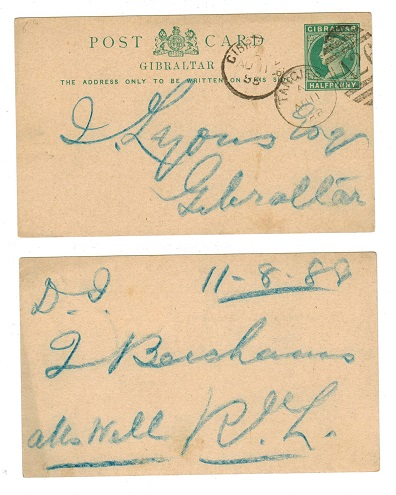 MOROCCO AGENCIES - 1887 1/2d PSC of Gibraltar used at TANGIER.  H&G 3.