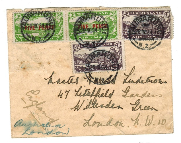 NEW ZEALAND - 1934 cover to UK used at TAUMARUNUI.