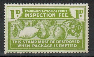 NEW ZEALAND - 1950 1d green FRUIT INSPECTION FEE mint adhesive.