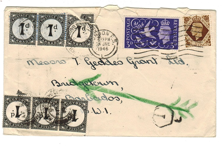 BARBADOS - 1946 inward underpaid cover from UK with 1d