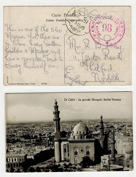 IRAQ - 1915 censored I.E.F./98 postcard to UK.