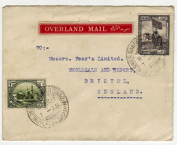 IRAQ - 1928 OVERLAND MAIL labelled cover to UK used at LOWER BAGHDAD.