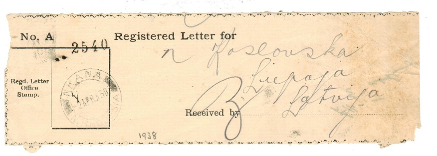 NORTHERN RHODESIA - 1938 Registered letter receipt used at NKANA.