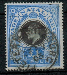 NATAL - 1902 £1 black and bright blue used.  SG 142.