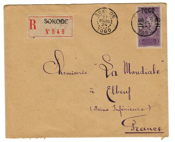 TOGO (French) - 1924 60c on 75c Dahomey overprint issue on cover to France used at SOKODE.