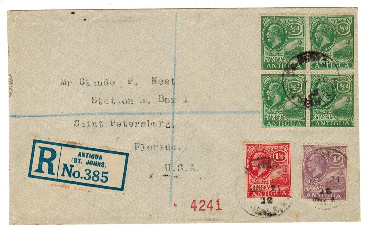 ANTIGUA - 1928 multi franked registered cover to USA.