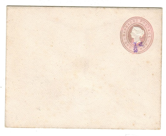 BARBADOS - 1892 1/2d on 1d PSE unused with DOUBLE OVERPRINT. Listed by Bayley (SE5b).