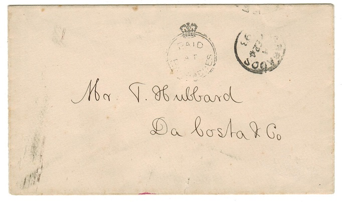 BARBADOS - 1893 PAID AT BARBADOS stampless local cover.