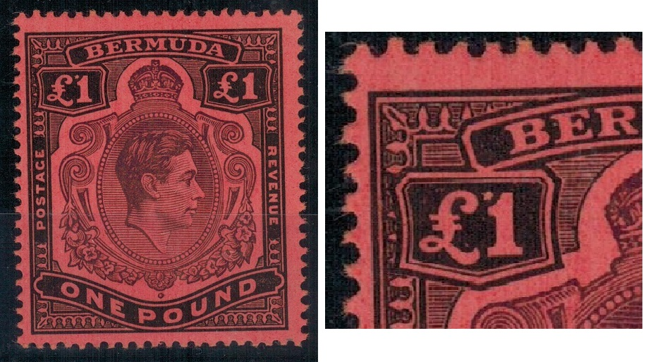 BERMUDA - 1943 £1 pale purple and black on pale red