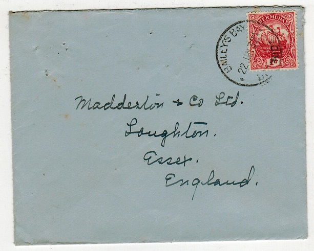 BERMUDA - 1932 1d rate cover to UK used at BAILEYS BAY.