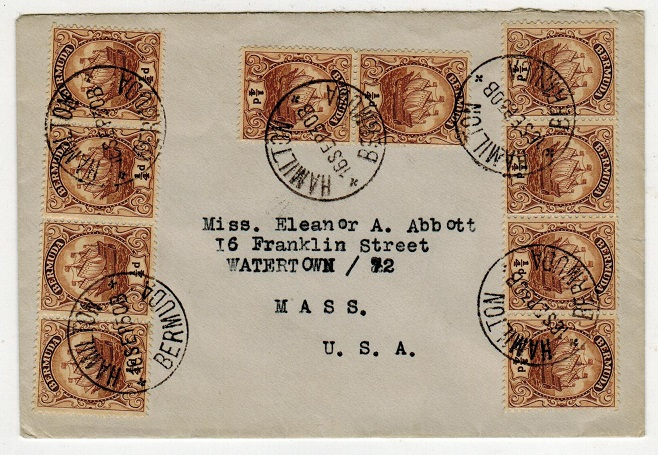 BERMUDA - 1930 1/4d franked 2 1/2d rate cover to USA used at HAMILTON.