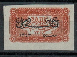 TRANSJORDAN - 1925 5p chestnut adhesive in mint condition with IMPERFORATE variety.  SG 142.