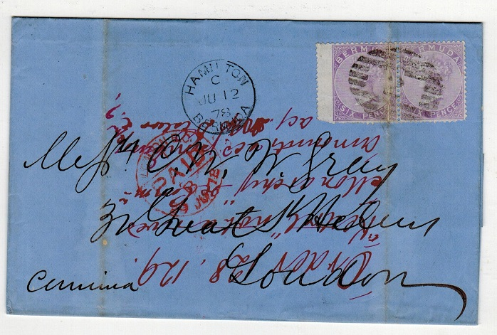 BERMUDA - 1878 1/- rate wrapper to UK with