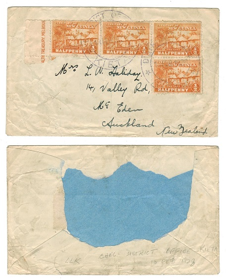 NEW GUINEA - 1928 (damaged) cover to NZ used at DISTRICT OFFICE/KIETA.