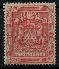 RHODESIA - 1892 £2 rose-red used.  SG 11.