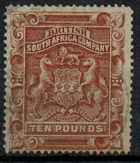 RHODESIA - 1892 £10 brown used.  SG 13.