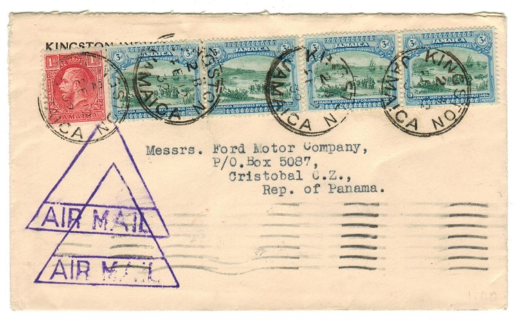 JAMAICA - 1932 cover to Panama with unusual triangular AIR MAIL h/s applied.