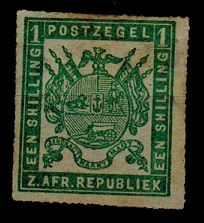 TRANSVAAL - 1870 1/- yellow green unused.  SG 6a.