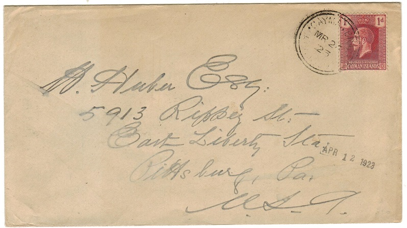 CAYMAN ISLANDS - 1923 1d rate cover to USA used at CAYMAN BRAC.