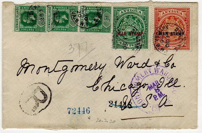 ANTIGUA - 1920 registered cover to USA with late WAR TAX adhesive use.