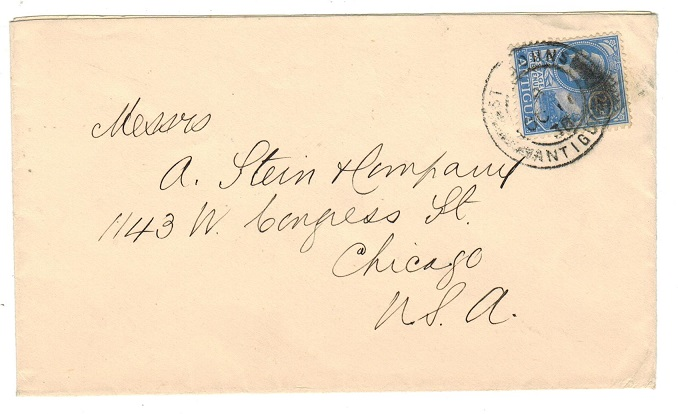 ANTIGUA - 1930 2 1/2d rate cover to USA used at ST.JOHN