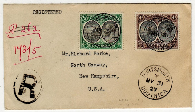 DOMINICA - 1927 4 1/2d rate registered cover to USA used at PORTSMOUTH/DOMINICA.