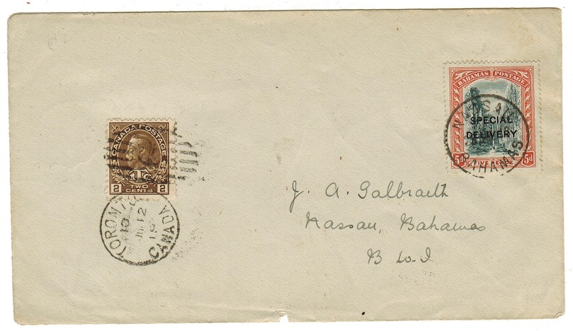 BAHAMAS - 1918 inward combination cover with Canada 2c and 5d SPECIAL DELIVERY adhesive.