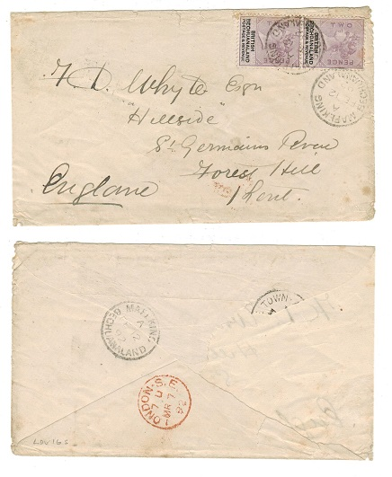 BECHUANALAND - 1892 4d rate cover (faults) to UK used at MAFEKING/BECHUANALAND.
