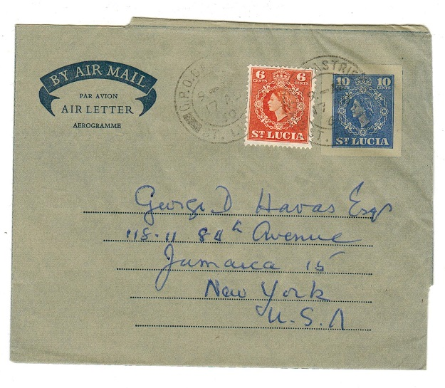 ST.LUCIA - 1955 10c postal stationery air letter to USA (no message) uprated from CASTRIES.  H&G 2.