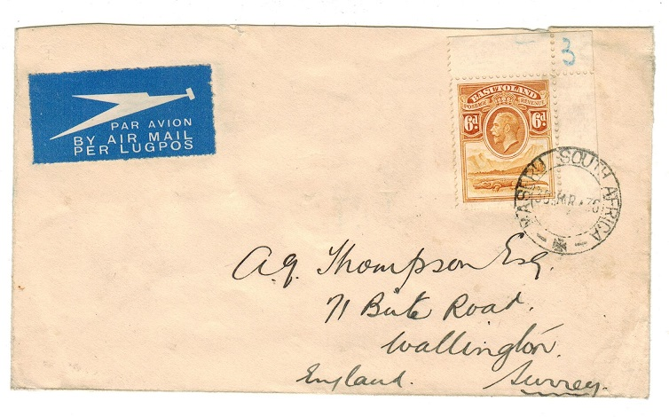 BASUTOLAND - 1936 6d rate cover to UK used at MASERU.