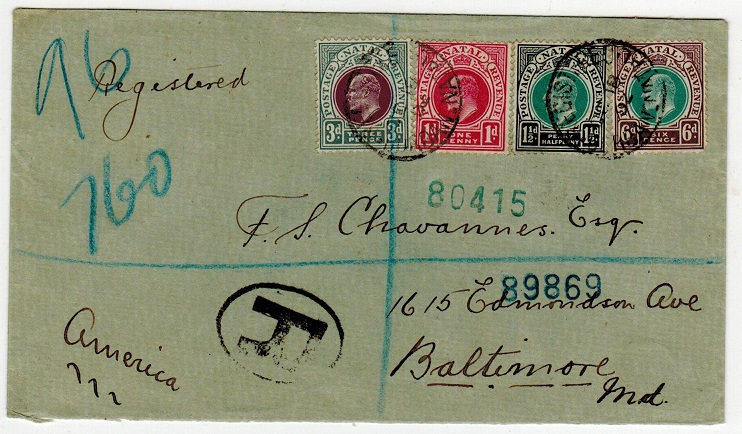 NATAL - 1902 multi franked registered cover to USA used at DURBAN.